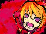 blonde demon_girlfriend_(vocaloid) fang foreshortening from_above kagamine_rin looking_up open_mouth purple_eyes short_hair solo teeth vocaloid