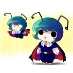 belt blue_hair cape chibi clothes_writing clothing_writing d: green_hair hair_ornament o_o open_mouth short_hair simple_background touhou wriggle_nightbug yume_shokunin