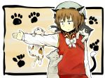 animal_ears brown_hair cat cat_ears cat_on_person cat_tail chen climbing earrings hat jewelry sergei_(artist) short_hair solo tail too_many_cats touhou