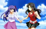 aqua_eyes black_hair fate/stay_night long_hair matou_sakura tohsaka_rin violet_eyes violet_hair
