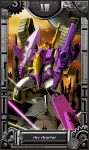 beam blitzwing cannon caterpillar cybertron denchuu_88 gears glowing grin gun highres robot screw smile star_(sky) sword tarot transformers viser weapon