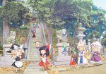 6+girls chen cirno daiyousei forest hakurei_reimu highres ibuki_suika jpeg_artifacts kirisame_marisa kochiya_sanae komainu moriya_suwako multiple_girls multiple_tails nature scenery shrine stairs statue stone_lantern tail touhou yakumo_ran yakumo_yukari yamazaki_mitsuru yasaka_kanako