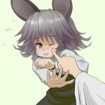 animal_ears capelet cheek_poke face hands ishikkoro mouse_ears nazrin poke poking red_eyes short_hair solo toramaru_shou touhou wince