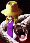 eyes fangs hair_ornament hat icon_man mishaguji moriya_suwako red_eyes short_hair snake solo touhou white_snake