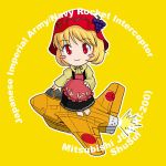 airplane aki_minoriko barefoot blonde_hair blush_stickers chibi commentary food fruit grapes hat military mitsubishi_j8m_shuusui red_eyes rocket sakurato_tsuguhi short_hair solo touhou world_war_ii wwii