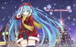 aqua_hair beek blush boots christmas christmas_tree hat hatsune_miku highres long_hair scarf snowflakes thigh_boots thighhighs twintails vocaloid winter_clothes