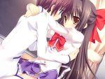 benzaiten_enishi blush brown_eyes brown_hair game_cg nanairo_kouro sasorigatame seifuku