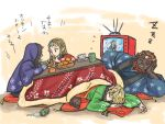 blonde_hair brown_hair edit5 facial_hair food fruit ganondorf hakobe_(ichiru) japanese_clothes kimono kotatsu link long_hair midna nintendo orange princess_zelda red_hair redhead sheik sleeping spoilers table television the_legend_of_zelda twili_midna twilight_princess