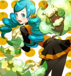 ace_trainer_(pokemon) aqua_hair black_pantyhose blue_eyes cottonee drill_hair erufuun food fruit fruit_background kabu_kabu mandarin_orange monmen pantyhose poke_ball pokemon pokemon_(game) pokemon_black_and_white pokemon_bw skirt tangerine twintails waist_poke_ball whimsicott yellow_eyes