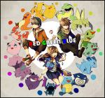 2boys blue_(pokemon) brown_hair bulbasaur casual caterpie charmander colorful ditto gengar golbat jigglypuff krabby leaf_(pokemon) long_hair multiple_boys nidorina nidorino object_namesake ookido_green pikachu poke_ball pokemon pokemon_blue pokemon_red_and_green pokemon_rgby pokemon_special poliwrath rainbow_order red_(pokemon) sandshrew scyther squirtle victreebel yuuichi_(bobobo)