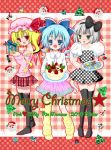 alternate_costume bad_id baggy_clothes black_legwear black_thighhighs blonde_hair blue_eyes blue_hair bow cake christmas cirno cookie dessert dress flandre_scarlet food ghost gingerbread_cookie green_eyes hair_bow hairband konpaku_youmu konpaku_youmu_(ghost) momose_rin multiple_girls myon plaid polka_dot polka_dot_dress ponytail red_eyes short_hair side_ponytail silver_hair thigh-highs thighhighs touhou wings