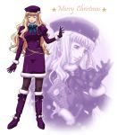 closed_eyes eyes_closed gloves hat jewelry long_hair macross macross_frontier mm_(masaki44rakugak) pantyhose purple_pantyhose sheryl_nome single_earring snow