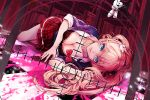 1girl blue_eyes breasts cleavage crosshair dangan_ronpa enoshima_junko hair_ornament hina_(xoxo) long_hair looking_at_viewer lying monokuma on_side pink_hair school_uniform skirt sleeves_rolled_up smile solo twintails