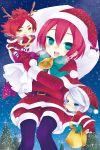 bad_id blue_eyes christmas christmas_tree footwear green_eyes hat inazuma_eleven inazuma_eleven_(series) kiyama_hiroto multiple_boys nagumo_haruya pantyhose purple_pantyhose raspberrycrown red_hair redhead santa_costume santa_hat socks striped striped_socks suzuno_fuusuke white_hair