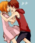 1girl couple dress higurashi_no_naku_koro_ni hoodie incipient_kiss incoming_kiss maebara_keiichi maseri_0117 okitakung ryuuguu_rena sleeveless_hoodie