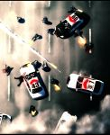 apocalypse bad_end battle blood car commentary corpse firing foxhound from_above gta2 gun highres injury letterboxed male motor_vehicle multiple_boys onibi_(foxhound4185) original police police_car rocket smoke swat vehicle weapon zombie