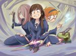 3girls akko_kagari brown_hair glasses grin hair_over_one_eye hairband little_witch_academia lotte_yanson multiple_girls orange_hair simonori sitting smile sucy_manbabalan wand