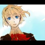aegis android az0212 blonde_hair blue_eyes letterboxed open_mouth persona persona_3 school_uniform sky solo