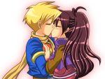 1girl bad_id blonde_hair brown_hair closed_eyes couple eyes_closed golden_sun gomabee husband_and_wife jasmine_(golden_sun) kiss robin_(golden_sun) scarf