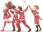 bad_id bel_(pokemon) bell_(pokemon) boots capelet cheren_(pokemon) christmas closed_eyes elbow_gloves eyes_closed gloves hat kidnapping lifting maruki_(punchiki) n_(pokemon) open_mouth pokemon pokemon_(game) pokemon_black_and_white pokemon_bw punchiki sack santa_boots santa_costume santa_hat smile thigh_boots thighhighs touko_(pokemon) touya_(pokemon)