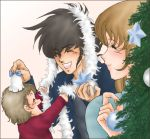 bell black_hair blush brown_hair child choujikuu_yousai_macross christmas christmas_tree family good_end hayase_misa ichijo_hikaru ichijo_miku ichijou_hikaru ichijou_miku if_they_mated jacket long_hair lowres macross oekaki oldschool playing short_hair sideburns smile sphere star sweater
