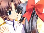 benzaiten_enishi black_hair brown_eyes brown_hair couple female game_cg male nanairo_kouro ribbons sasorigatame