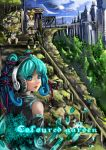 aqua_hair bare_shoulders blue_sky building city cloud clouds detached_sleeves english hatsune_miku headphones highres kagamine_len kagamine_rin looking_back sitting sky stairs standing sukya turnaround twintails vocaloid