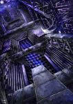 black_rock_shooter checkered cloud clouds dutch_angle highres night night_sky no_humans scenery sky stairs star sukya