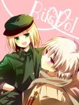 aplerichi axis_powers_hetalia bad_id blonde_hair flat_cap green_eyes happy hat male medal military military_hat military_uniform multiple_boys poland_(hetalia) russia_(hetalia) scarf short_hair silver_hair smile uniform