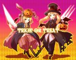 2boys absurdres androgynous animal_ears aplerichi argyle argyle_background axis_powers_hetalia bad_id bandage bandages bat card england_(hetalia) fork formal gradient gradient_background halloween highres jack-o'-lantern knife lace male multiple_boys open_mouth poland_(hetalia) pumpkin pumpkin_hat purple_background scarf smile trick_or_treat united_kingdom_(hetalia) yellow_background