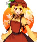 1girl aki_minoriko apron blonde_hair dress food fruit grapes hat leaf lgw7 open_mouth orange_eyes short_hair touhou