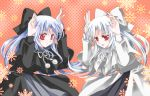 2girls blue_hair bow bunny_pose capelet dress hair_bow len long_hair melty_blood multiple_girls red_eyes silver_hair tsukihime warlock_(nova) white_len