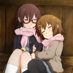 arm_hug black_legwear black_pantyhose blush brown_hair casual closed_eyes eyes_closed footwear glasses hair_ornament hairclip half_rim_glasses hirasawa_yui k-on! kagiana kneehighs manabe_nodoka multiple_girls pantyhose red-framed_glasses scarf semi-rimless_glasses shared_scarf short_hair sitting sleeping smile socks under-rim_glasses white_legwear white_socks