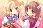blonde_hair brown_eyes brown_hair flyable_heart food inaba_yui itou_noiji pink_eyes pocky sumeragi_amane