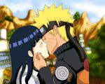 blonde_hair blue_hair blush closed_eyes hyuuga_hinata jinchuuriki kiss long_hair naruto short_hair spiky_hair uzumaki_naruto