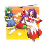 8bit bad_id beard facial_hair genjii ghost_tail green_eyes green_hair hakama hakurei_reimu hakurei_reimu_(classic) heart highres hug japanese_clothes kataginu kimono meira mima multiple_girls purple_hair ryoki_(8bit) samurai sandals sword the_story_of_eastern_wonderland touhou turtle weapon