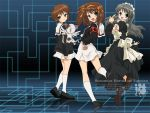 brown_hair cardcaptor_sakura cosplay crossover daidouji_tomoyo daidouji_tomoyo_(cosplay) kero kero_(cosplay) kinomoto_sakura kinomoto_sakura_(cosplay) nagato_yuki school_uniform shamisen_(suzumiya_haruhi) short_hair suzumiya_haruhi suzumiya_haruhi_no_yuuutsu wallpaper
