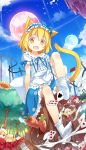 :d alice_margatroid animal_ears black_hair blonde_hair bow card carrot cat_ears cat_tail chestnut_mouth drill_hair fang flower fred04142 hair_bow hairband heart kaenbyou_rin kemonomimi_mode komeiji_koishi looking_at_viewer luna_child milk minigirl moon multiple_girls multiple_tails open_mouth playing_card rabbit_ears red_eyes red_rose redhead rose short_hair skirt smile socks star_sapphire sunflower sunny_milk tail third_eye touhou tree_stump twintails white_legwear yellow_eyes