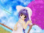 brown_eyes dress gotou_nao hat long_hair purple_hair smile sundress tree wallpaper water