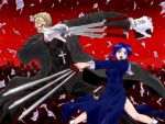 1girl alexander_anderson beard between_fingers black_keys blonde_hair blue_eyes blue_hair book buttons cassock ciel clenched_teeth cross cross_necklace crossover crowd english facial_hair flying_paper glasses gloves grin habit hellsing holding holding_book long_sleeves melty_blood opaque_glasses open_clothes open_mouth paper priest shingetsutan_tsukihime short_hair skirt smile sword tsukihime type-moon wallpaper weapon white_gloves white_legwear