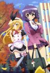 absurdres autumn bag baseball_bat black_legwear black_thighhighs blonde_hair cloud clouds footwear green_eyes hair_ornament hairclip headband highres isurugi_mio leaf long_hair maid mm! multiple_girls nyantype official_art outdoors outside pink_eyes purple_hair school_uniform short_hair sky socks thigh-highs thighhighs very_long_hair yuuno_arashiko zettai_ryouiki