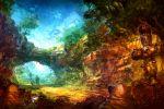 carlie charlotte charlotte_(seiken_densetsu_3) colorful darts duran forest manimanima nature popoie purim randi rock scarecrow scenery seiken_densetsu seiken_densetsu_2 seiken_densetsu_3 stairs sunbeam sunlight tree