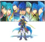 blue_eyes cape column_lineup eirika ephraim fire_emblem fire_emblem:_monshou_no_nazo fire_emblem:_seima_no_kouseki fire_emblem:_seisen_no_keifu fire_emblem:_souen_no_kiseki geoffrey headband hitohana ike innes long_hair luchino lucia_(fire_emblem) marth sword weapon