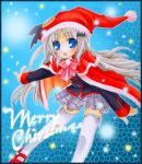 blonde_hair blue_eyes cape chibinon fang hat little_busters! loli long_hair noumi_kudryavka plaid plaid_skirt santa_hat school_uniform skirt tartan thigh-highs thighhighs traditional_media