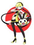 blonde_hair blue_eyes bm03 emolga emonga high_heels kamitsure_(pokemon) navel navel_cutout pantyhose pokemon pokemon_(game) pokemon_black_and_white pokemon_bw shoes standing