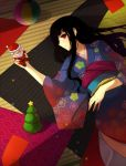 black_hair blunt_bangs christmas christmas_tree doll furisode itoshiki_rin japanese_clothes kimono long_hair lying marble milcho red_eyes santa_claus sayonara_zetsubou_sensei smile solo wavy_hair yukata