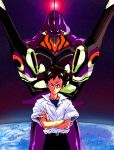 belt black_eyes brown_hair chu-song crossed_arms earth epic eva_01 gunbuster gunbuster_pose ikari_shinji mecha neon_genesis_evangelion parody school_uniform short_hair sleeves_rolled_up space