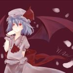 ascot bad_id bat_wings colored_eyelashes eyelashes finger_to_mouth hat hat_ribbon lavender_hair petals raicy red_eyes reeby remilia_scarlet ribbon short_hair signature simple_background solo touhou wings wrist_cuffs