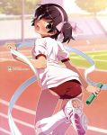 ass back bandaid baton blush brown_eyes brown_hair buruma footwear gym_uniform hair_ribbon hairband highres kami_nomi_zo_shiru_sekai kneehighs looking_back official_art one_side_up open_mouth relay_baton relay_race ribbon shoes side_ponytail sneakers socks solo sweat takahara_ayumi tongue track track_and_field trefoil watanabe_akio white_kneehighs white_legwear white_socks