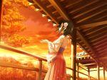 black_hair game_cg japanese_clothes kimono kitto_todoku_sumiwataru_asairo_yori_mo red_eyes short_hair sunset waka yasuyuki
